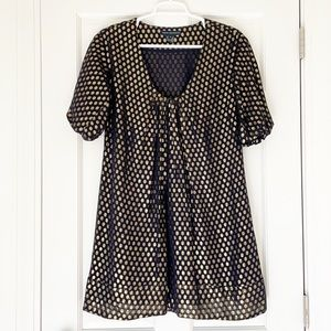 FRENCH CONNECTION dress size 2 navy gold polka dot